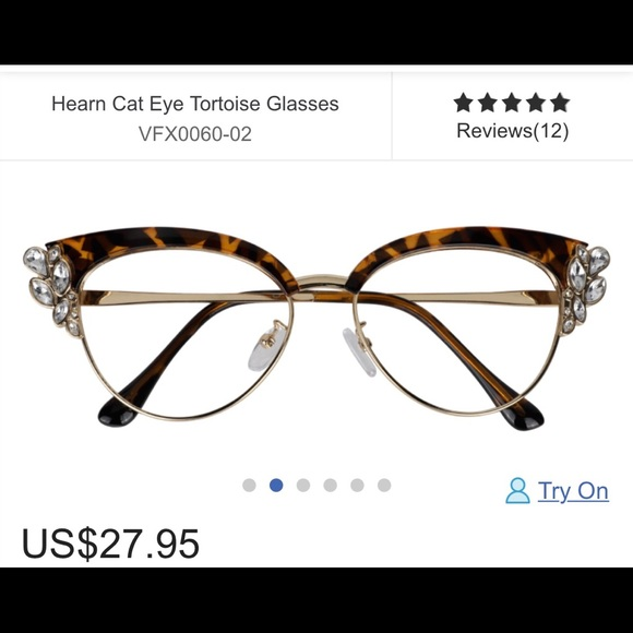 zeelool Accessories - Cat eye jeweled tortoise glasses clear